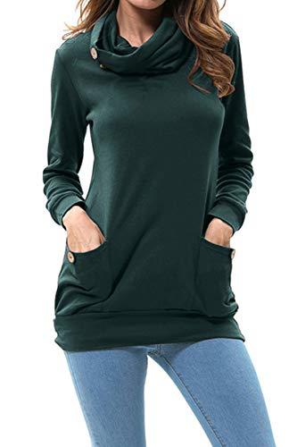 levaca Womens Long Sleeve Cowl Neck Casual Sweatshirts Tunic Tops with Pockets