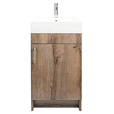 17.75 Inch Rustic Grey Single Sink Bathroom Vanity with Top (Gray)