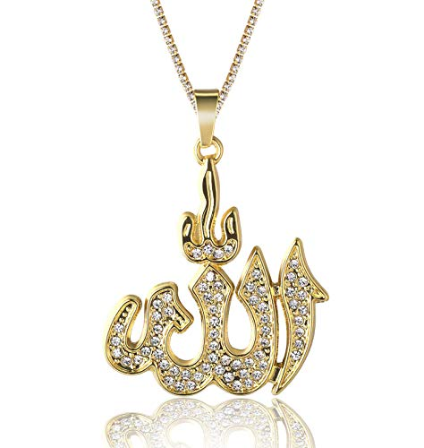 Halukakah Gold Chain for Men Iced Out,18k Real Gold Plated Allah Islam Symbol Pendant Necklace,Full Cz Lab Diamonds Prong Set,with Baby Tennis Chain 50cm,Free Giftbox