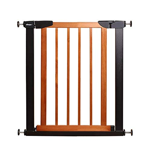 H.yina Baby Gates Metal Baby Gates for Stairs Doorway, Pressure Fitted Dog Pet Gate with Wooden Walk-thru Door, 65-79cm Wide, Brown (color : BROWN, Size : 65-72CM)
