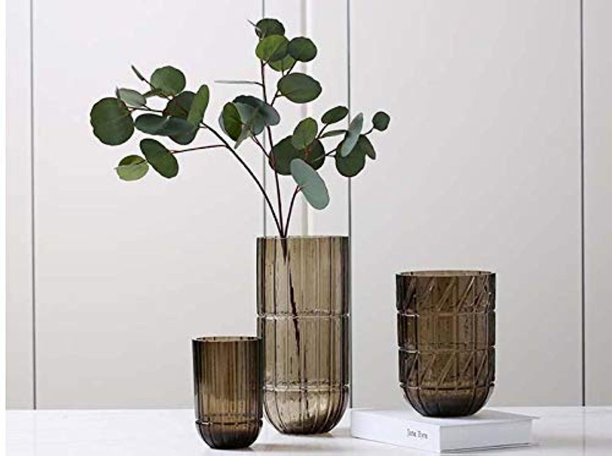 FINE BOTTLE VaseVase cylindrique gris Bcourir gravé par Bande de Surface OrneHommests Simples de Fleur hydroponique Moderne