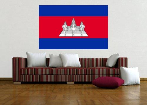 Kiwistar Wandtattoo Sticker Fahne Flagge Aufkleber Kambodscha 120 x 77cm