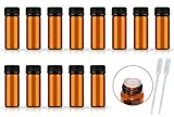 50Pack Set 1ML 2ML 3ML 5ML Amber Glass Bottle with Orifice Reducer and Cap Small Essential Oil Vials (5ML)