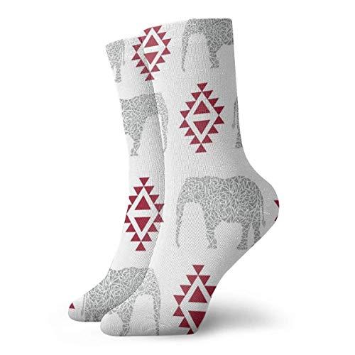 Tammy Jear Chaussettes de compression classiques, Elephant Aztec Southwest Sport Athletic 11.8inch (30cm) Long Crew Socks for Men Women