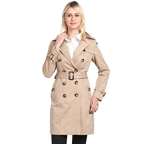 ForeMode Women's Double Breasted Mid-Length Trench Coat Classic OvercoatBeige KhakiS