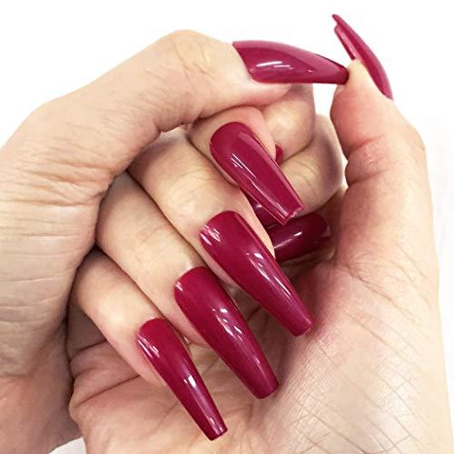 Brishow Sarg-falsche Nägel, lange künstliche Nägel, reine Farbe, Ballerina zum Aufkleben, glänzende volle Abdeckung, Acryl, für Frauen und Mädchen (Fuchsia)