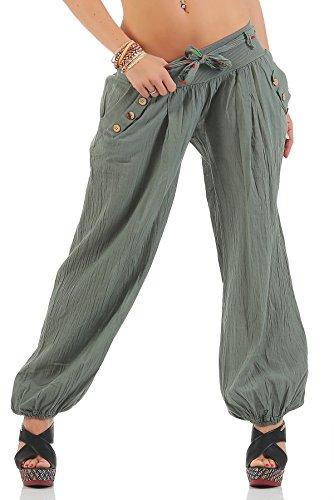ZARMEXX Fashion ZARMEXX Haremshose Pumphose Pluderhose Ballonhose Aladinhose Harem Hose Sommerhose (armee-green)