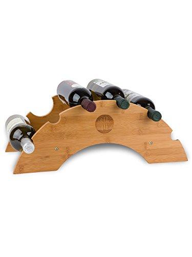 PreVino Weinregal Bambus Holz | Flaschenregal Weinflaschenhalter Weinhalter klein | für 6 Flaschen | Wine Bottle Rack | Wooden Wine Holder | Weinständer 51x23,7x19 cm