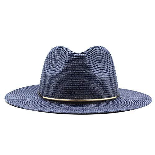 N\A Sombrero de verano Señoras Panamá Sombrero de paja Sombrero de Fedora Beach Vacation Wide Brimmed Sunshade Casual Hombres Sombrero de sol Sombrero de ala ancha Sombrero de sol