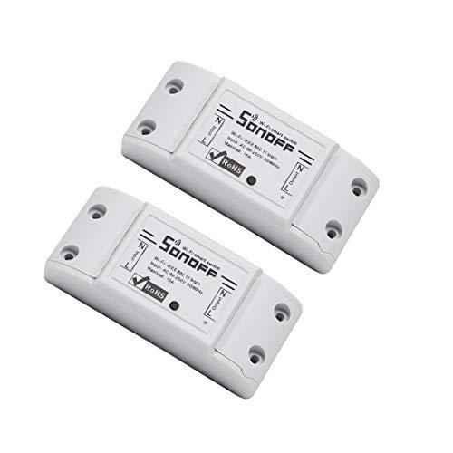 SONOFF® Basic DIY Interruttore smart wireless WiFi con ricevitore RF per telecomando, smart timer, per case intelligenti pack of 2