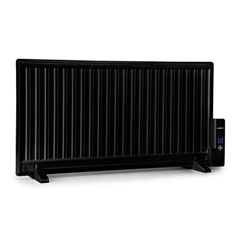oneConcept Wallander - Ölradiator, Ölheizung, Heizgerät, 1000 W, Thermostat stufenlos regelbar, LED-Display, ultraflach, Überhitzungsschutz, Timer, Wandmontage möglich, Standfüße, schwarz