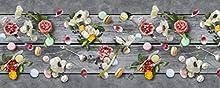 Homelife Alfombra Vinílica de Cocina Lavable y Antideslizante Alfombra Rectangular de PVC Antimanchas, Interior y Exterior | Alfombra Pasillera con Flores Estampadas (52x140 cm)