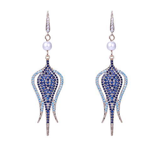 BAJIE Earring Women'S Long Earrings Pave Cz Gem Copper Gold Plated Fashion Drop Earrings Wedding