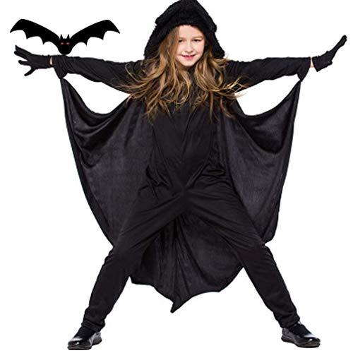 LPing Disfraz de Halloween para niños,alas de murciélago Negras,Capa con Capucha,Disfraz de Fiesta de Cosplay y Guantes para niños y niñas,XS-XL