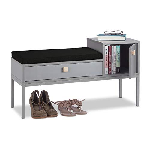 Relaxdays Flurkommode, bequemes Sitzpolster, 2 Fächer, Schublade, Holzgriffe, Metallbeine, schmal, HBT 50x90x30 cm, grau