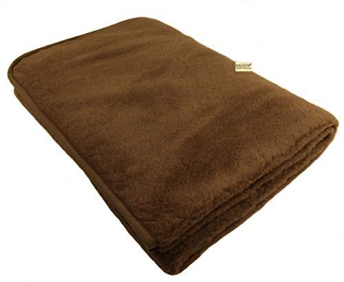 Zaloop 100% Schurwolle Merino Wolldecke Decke Wohndecke Bettdecke Tagesdecke Wolle (ca. 140 x 200 cm, braun)