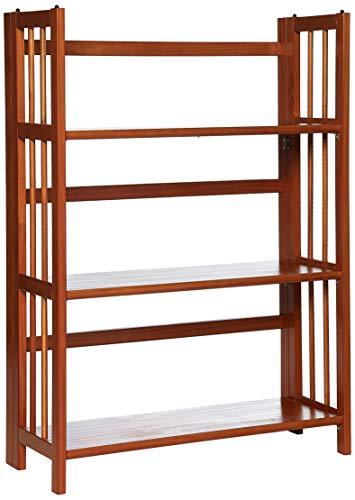 Casual Home 3-Shelf Folding Stackable Bookcase (27.5' Wide)-Honey Oak