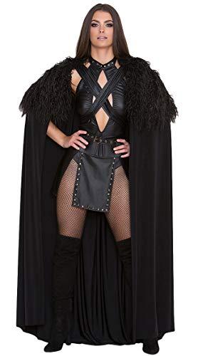 Yandy Black Large Premium Sexy Northern Queen Medieval Halloween Warrior Cosplay Costume