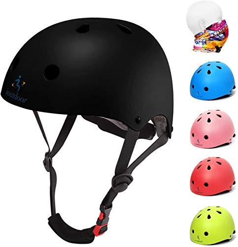 ioutdoor Kinderhelm, Fahrradhelm Einstellbar für Kleinkinder, Jungen, Mädchen, Jugendliche, CPSC-Zertifiziert, Schutzausrüstung, für Radfahren, Skaten, Snowboarden (Schwarz, L:58-61cm/22.4''-24'')