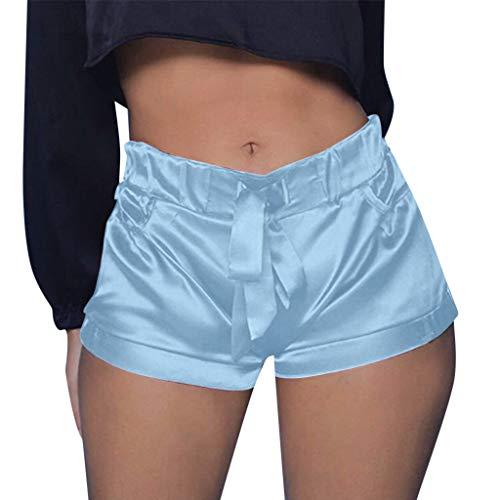 WOZOW Shorts Kurze Hose Damen Solid Einfarbig Casual Lose High Waist Mini Freizeithose Stoffhose Silky Slim Riemchen Party Pyjama Trousers (S,Himmelblau)