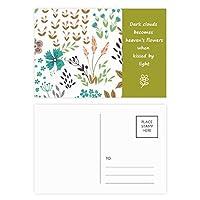 カラフルな花の植物塗料 詩のポストカードセットサンクスカード郵送側20個