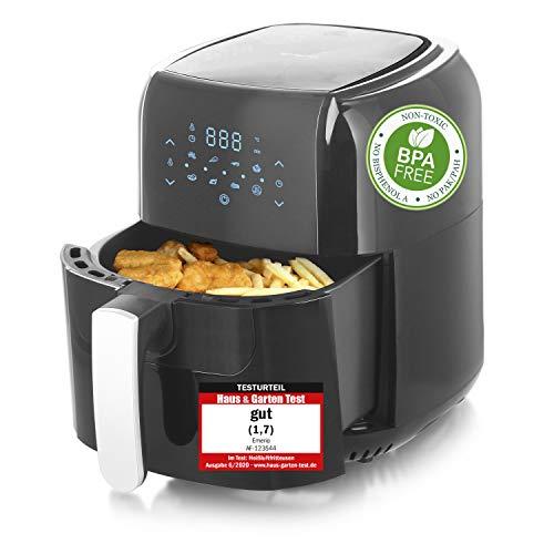 Emerio AF-123544 SmartFryer, AirFryer, Heißluftfritteuse, Frittieren mit heißer Luft-ohne zusätzliches Öl [] 5.5 Liter Volumen, 1400 Watt, Schwarz
