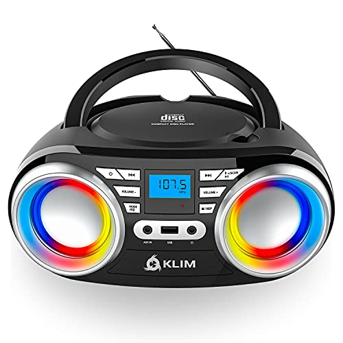 KLIM CD Boombox B3 Portable Audio System + FM Radio, CD, MP3, Bluetooth, AUX, USB + Wired and Wireless Mode with Rechargeable Batteries + Upgraded CD Laser Lens + Digital EQ + 2021 Release