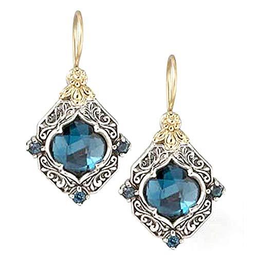 Ruby569y Pendientes de tuerca para mujer, 1 par de pendientes colgantes de rombo, joyería de boda, azul, para el día de San Valentín, color azul