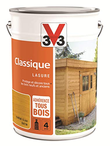 V33 Lasure Classique 4 ans, Chêne Clair 5 L