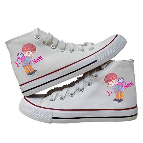 LXYA KPOP BTS Bangtan niños Lindo Personaje de Dibujos Animados Zapatos de Lona  Hombres y Mujeres Encaje Encaje titulares Botines Zapatos Casuales Zapatos Plimsolls Gimnasio Deportes EJÉRCITO