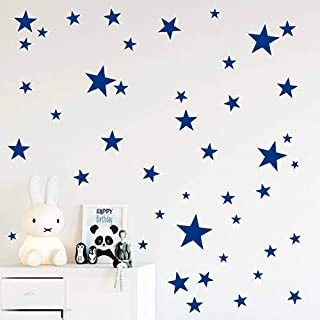 Wall Decals Dark Blue Stars For Kids Room, 3-4-5centimeter Mix 112 Pcs, Easy To Peel Easy To Stick, Safe On Walls And Paint, Vinyl Decor By Bugybagy. (Matte Dark Blue)