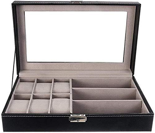 T.T-Q Caja de 6 + 3 gafas Cajas para relojes caja de reloj de cuero gafas de sol con tapa caja de presentación de joyería regalo de cumpleaños joyero para almacenamiento y visualización 33*20*7,9 cm