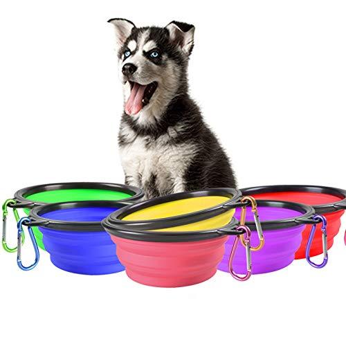 Zuzer Cuenco Perro Plegable,6PCS Cuenco Perro Grande Cuenco Plegable para Perros,Comedero para...