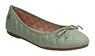Dejavu Front Bow Stitched Faux Leather Ballerina Shoes for Women