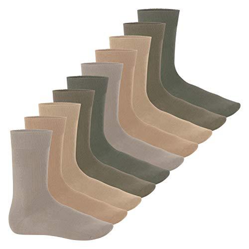 Celodoro 10 Paar Herren Business Socken 100prozent Baumwolle Naturtöne-39-42