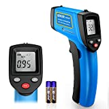 RISWOJOR Infrared Thermometer Cooking Digital Temperature Gun,Adjustable Emissivity &MAX/MIN/at/Cal Temp Gun; -58°F~752°F(-50°C~400°C) IR Laser Thermometer Gun for Industrial,Kitchen/Ovens/Grill
