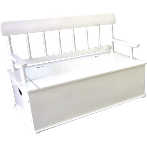Wildkin Kids Wooden Bench Seat with Storage for Boys and Girls, Toy Box Bench Seat Features Safety Hinge, Backrest, and Two Carrying Handles, Measures 34 x 26.5 x 18 Inches (White)