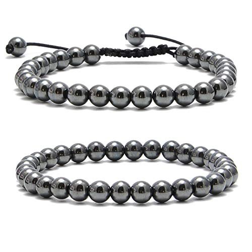 NCB Natural Semi-Precious Gemstone Beaded Pairing Bracelets Set 2-Styles Bead and Adjustable Bracelets Set for Friendship or Couples Combo (Black Hematite, 6mm)