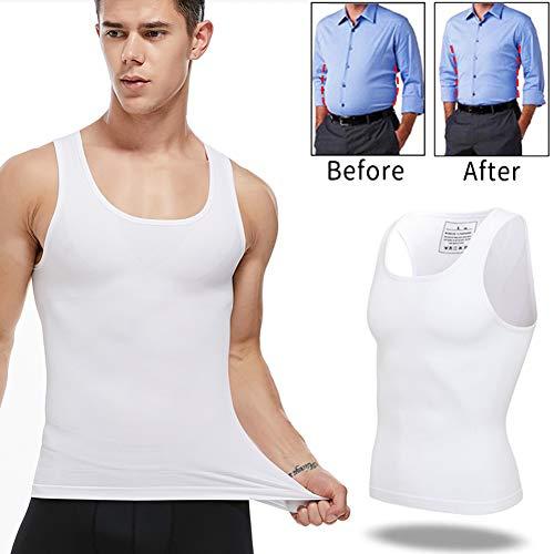 Jolie Herren Abnehmen Body Shaper Gynäkomastie Kompressionshemden Bauchkontrolle Shapewear Hide Man Moobs Weste,M