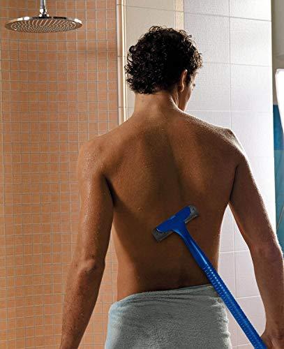 Rückenrasierer mit Ersatzklingen/ Körper-Rasierer/ Rückenhaarrasierer für Männer/ Frauen, blau