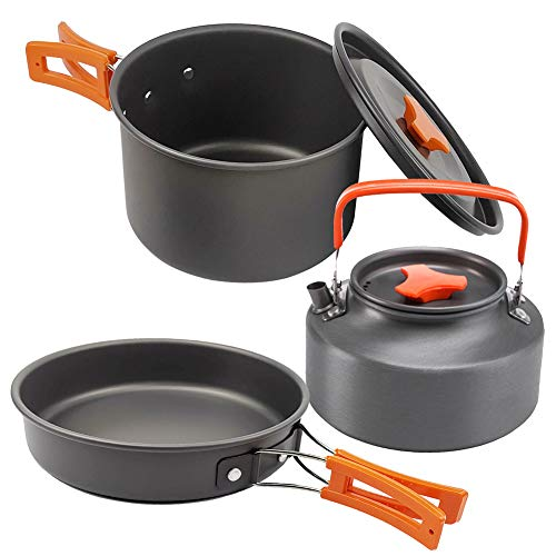 Bling Batterie de Cuisine Camping Portable Set, léger, Durable, Mini Pliant en Aluminium Pan Pot Teapot avec Sac de Rangement,Orange