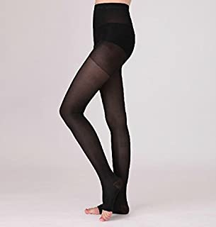 BriteLeafs Sheer Compression Pantyhose 15-20mmHg, Moderate Support, Open Toe (Medium, Black)