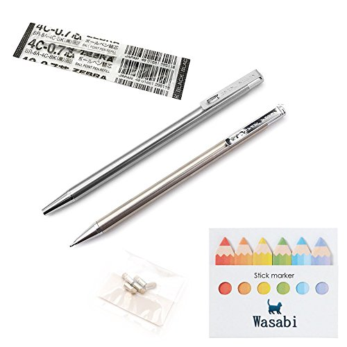 ZEBRA (Mini Ballpoint Pen T-3, Black Ink, 0.7mm with Refill + (Mini Mechanical Pencil) TS-3, 0.5mm, with Spare Erasers & Our Sticky Note! /Good Value