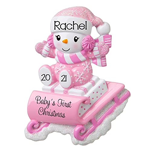 2021 Personalized Ornament Baby's First Christmas Baby Girl Snowbaby on Sled Christmas Tree Ornament Handwritten Customized Glittered Decoration Baby Ornaments-Free Personalization