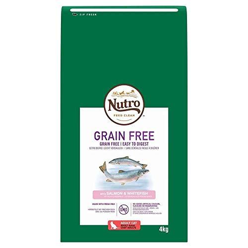 NUTRO Grain Free Gatos Adultos SALMÓN y Pescado Blanco, 4 kg ✅