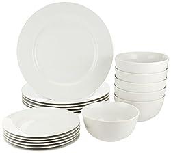 top rated AmazonBasics 18 Piece White Kitchenware Set, Plates, Bowls, 6 Person Service 2021