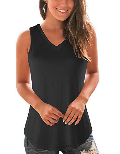 WFTBDREAM Basic V Neck Tshirts for Women Loose Fitting V Neck Tank Tops Black S