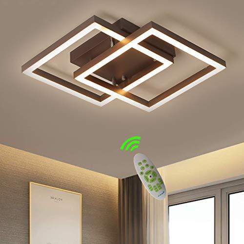 Lámpara de Techo LED Regulable para Dormitorio Lámpara de Techo 70cm Moderna de Moda Minimalista de Metal Cuadrado Anillos Diseño Lámpara de Sala de Estar Decoración Interiores Lámpara
