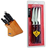 Arcos Maitre Juego de Cuchillos 5 piezas (4 Cuchillos de Cocina + 1 Chaira para afilar cuchillos) + Serie Cuchillos de Mesa...