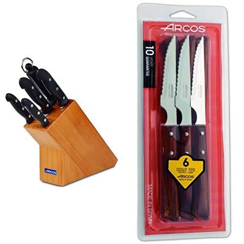 Arcos Maitre Juego de Cuchillos 5 piezas (4 Cuchillos de Cocina + 1 Chaira para afilar cuchillos) + Serie Cuchillos de Mesa Juego de 6 Cuchillos Chuleteros